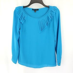 Banana Republic Women's Ruffle Neck Blue XXS NWOT